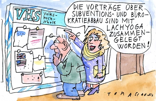 Cartoon: Subventionsabbau (medium) by Jan Tomaschoff tagged subventionsabbau,entbürokratisierung