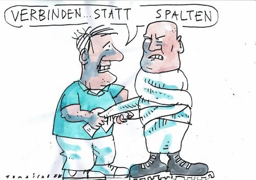 Cartoon: verbinden (medium) by Jan Tomaschoff tagged populisten,neonazis,glatzen,populisten,neonazis,glatzen
