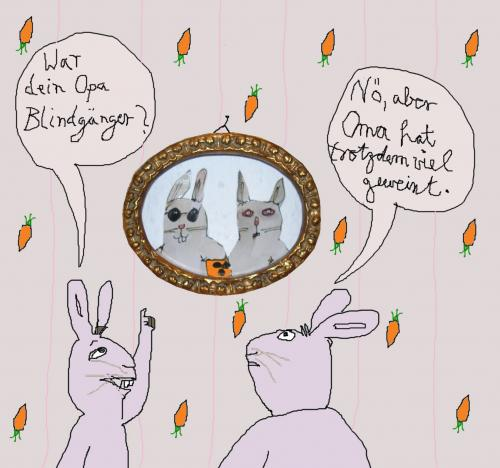 Cartoon: Bei Karnickels zuhaus (medium) by nele andresen tagged oma,opa,