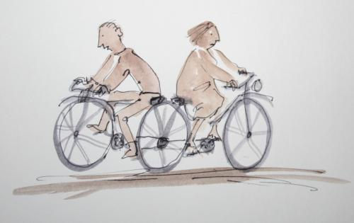Cartoon: old couple (medium) by nele andresen tagged tandem,ehe,