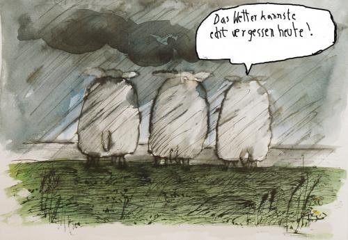 Cartoon: Wetterdienst (medium) by nele andresen tagged schafe,sturm,scheißwetter