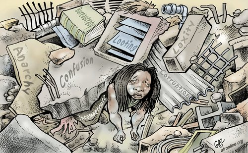 Cartoon: Haiti (medium) by Damien Glez tagged haiti,earthquake