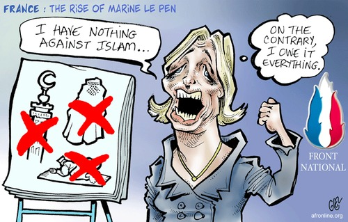 Marine Le Pen's Islamophobia, cartoon