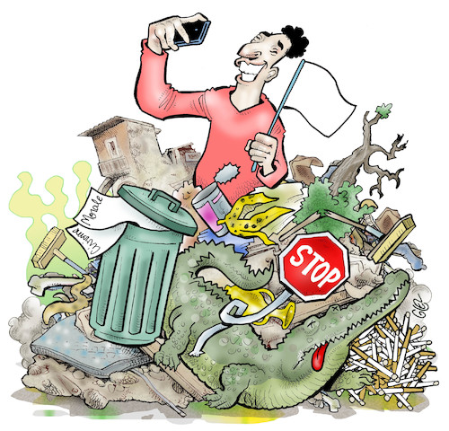 Cartoon: Modern laxity (medium) by Damien Glez tagged laxity,navel,social,networks,selfie,environment,garbage,waste,laxity,navel,social,networks,selfie,environment,garbage,waste
