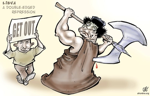 Cartoon: Muammar al-Gaddafi (medium) by Damien Glez tagged libia,gaddafi