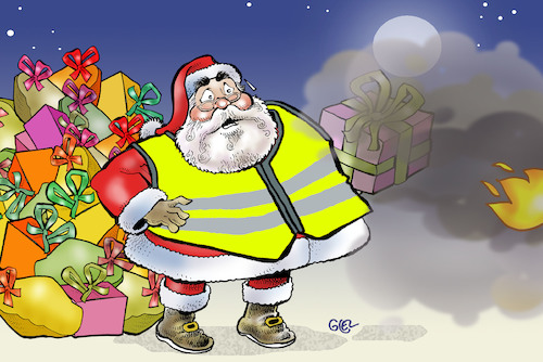 Cartoon: Yellow vests in France (medium) by Damien Glez tagged france,christmas,yellow,vests,macron,france,christmas,yellow,vests,macron
