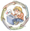 Cartoon: To vote or not to vote (small) by Damien Glez tagged vote,election,lobbies,senate,parliament,justice,government,army