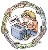 Cartoon: Vote (small) by Damien Glez tagged votes,elections