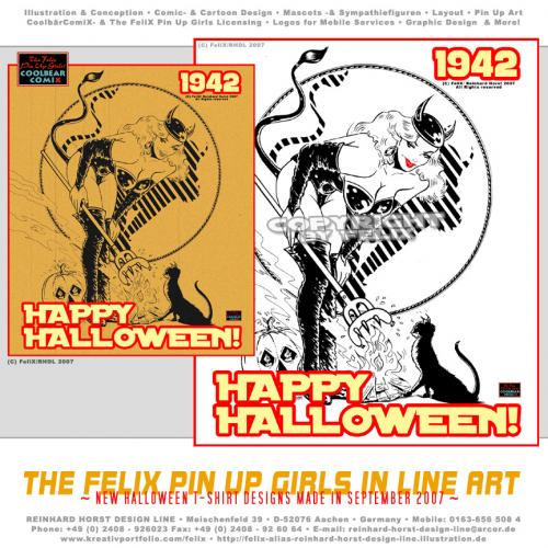 Cartoon: Halloween Designs 01 (medium) by FeliXfromAC tagged halloween,pin,up,girls,poster,frau,woman,tshirt,girl,sexy,collection,1942,hexe,witch,witchcraft,alias,reinhard,horst,stockart,