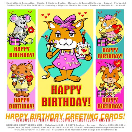 Cartoon: Happy Birthday Cards (medium) by FeliXfromAC tagged greeting,card,