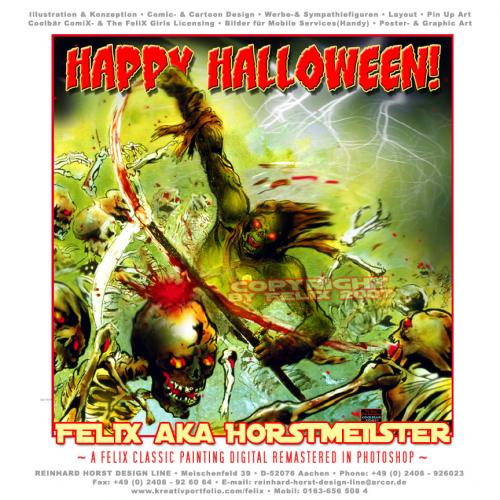 Cartoon: Happy Halloween CD Cover (medium) by FeliXfromAC tagged halloween,amok,cd,cover,skelett,blut,