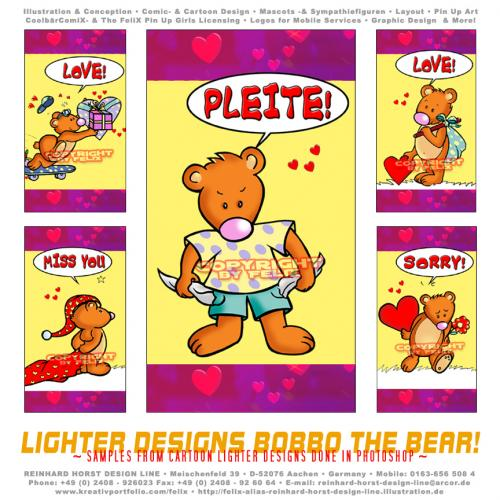 Cartoon: Lighter Designs Bobbo the Bear (medium) by FeliXfromAC tagged bobbo,the,bear,bär,tiere,stockart,animals,wizard,cartoon,comic,comix,felix,alias,reinhard,horst,greeting,card,glückwunschkarte,liebe,character,design,mascot,sympathiefigur,beziehung,glück,luck,greetings,call,handy,telefon,phone,handylogo,mobile,services,h