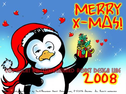 Cartoon: Paolo Pingo-Merry X-mas (medium) by FeliXfromAC tagged tier,merry,xmas,weihnachten,pinguin,penguin,feiern,gift,geschenk,weihnacht,jahreszeit