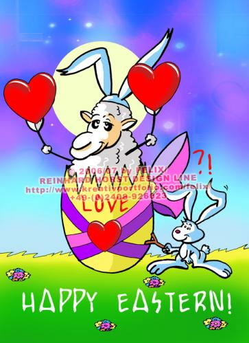 Cartoon: Sheep in Love (medium) by FeliXfromAC tagged schaf,sheep,easter,egg,hase,felix,alias,reinhard,horst,comic,cartoon,love,liebe,design,line,aachen,hare,rabbit,tier,tiere,animal,animals,festtage,malen,illustration,grüße,greeting,card,