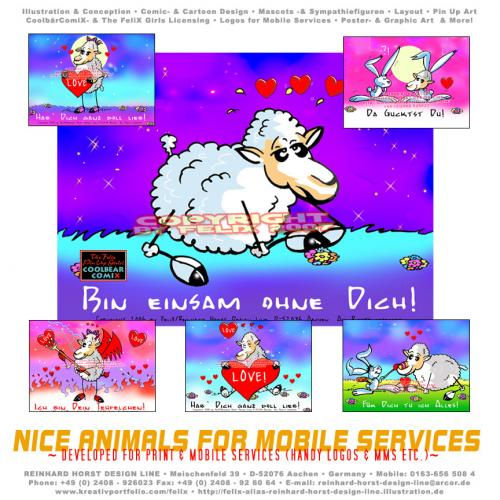 Cartoon: Sheep in Love Samples (medium) by FeliXfromAC tagged sheeps,in,love,schaf,schafe,cartoon,handy,mobile,services,liebe,funny,tiere,animals,