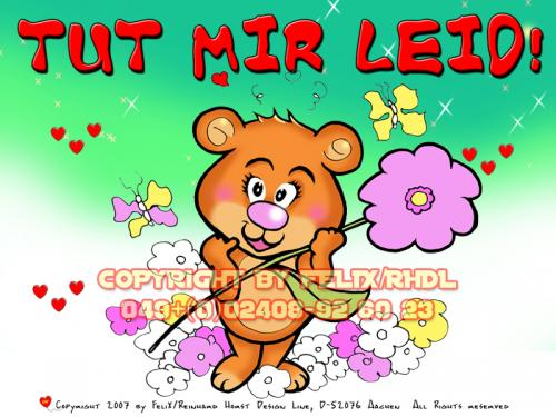 Cartoon: Sorry -Tut mir leid! (medium) by FeliXfromAC tagged bär,bear,sorry,tut,mir,leid,charakter,model,sheet,felix,alias,reinhard,horst,aachen,blume,flower,girl,grusskarte,mascot,sympathiefigur,gute,nacht,design,line,layout,entwurf,rot,red,comic,cartoon,illustration,stockart,