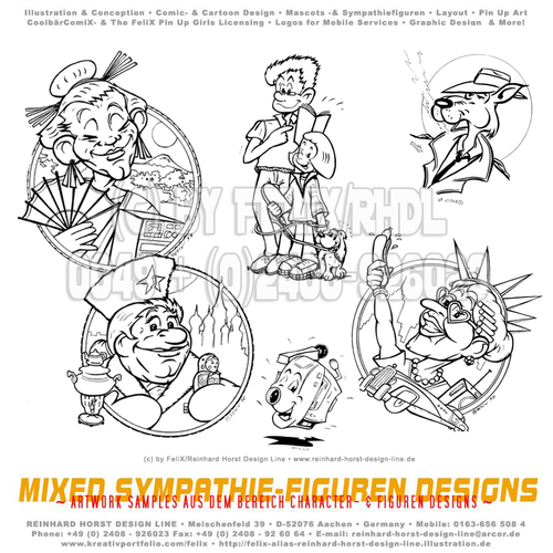 Cartoon: SW Cartoon Figuren für Spiele (medium) by FeliXfromAC tagged felix,alias,reinhard,horst,design,line,aachen,illustration,illustrator,comic,zeichner,comiczeichner,nrw,brettspiel,sympathie,figuren,mascot,cartoon,russland,china,usa,alte,leute,senior,old,people,familie,kamera,camera,hund,fox,fuchs,detectiv,cool,rauchen,