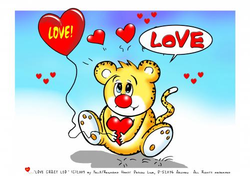 Cartoon: Whole Lotta Love-Lovecrazy Leo (medium) by FeliXfromAC tagged leo,love,tiere,tier,animal,lovecrazy,character,design,handy,wallpaper,leopard,comic,comix,cartoon,felix,alias,reinhard,horst