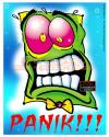 Cartoon: The Face of Panic! (small) by FeliXfromAC tagged paranoid,panc,panik,felix,alias,reinhard,horst,horror,design,line,comic,cartoon,monster,geicht,blau,blue,angst,poster,kaugummi,bubblegum