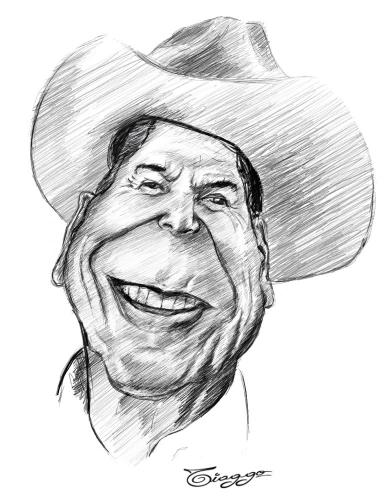 Cartoon: Ronald Reagan (medium) by Tiaggo Gomes tagged ronald,reagan,caricatura,tiaggo,caricature