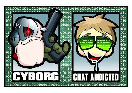 Cartoon: Cyborg Nerd (medium) by volkertoons tagged volkertoons,cyborg,nerd,chat,pc,mac,computer,www,internet,sf,scifi,addicted,addiction,sucht,süchtig,matrix,illustration,illustrationen,cyborg,nerd,chat,pc,mac,computer,www,internet,sf,scifi,science fiction,sucht,süchtig,matrix,web,spiel,spielen,games,technik,technologie,science,fiction