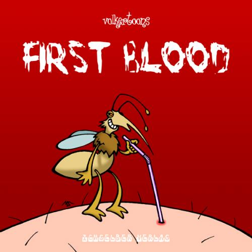 Cartoon: First Blood (medium) by volkertoons tagged cartoon,volkertoons,humor,tiere,animals,natur,nature,cover,illustration,rambo,first,blood,mücke,blut