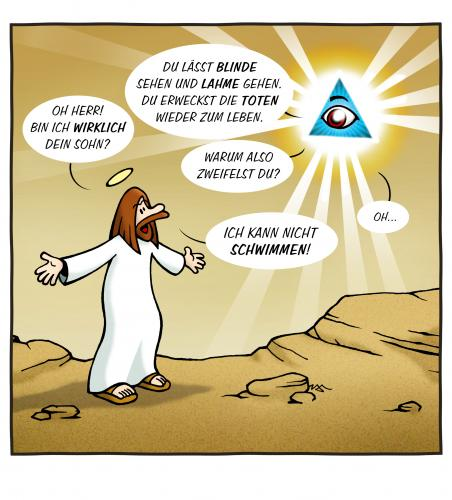 Cartoon: Gottes Sohn (medium) by volkertoons tagged cartoons,volkertoons,jesus,christus,christ,religion,gott,god,schwimmen