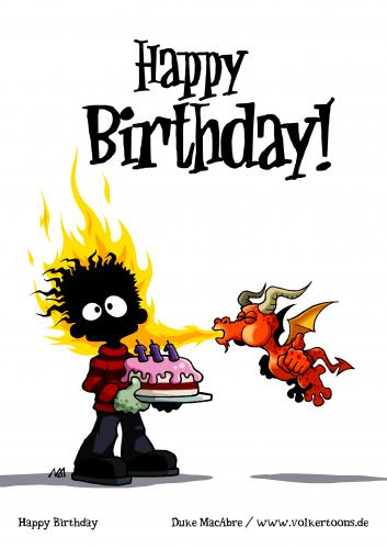 Cartoon: Happy Birthday (medium) by volkertoons tagged creeps,creepy,halloween,anniversary,gothic,drache,fantasy,horror,dragon,zombie,geburtstagskarte,geburtstag,birthday,happy,grußkarte,grußkarten,cards,greeting,humor,cartoon,volkertoons