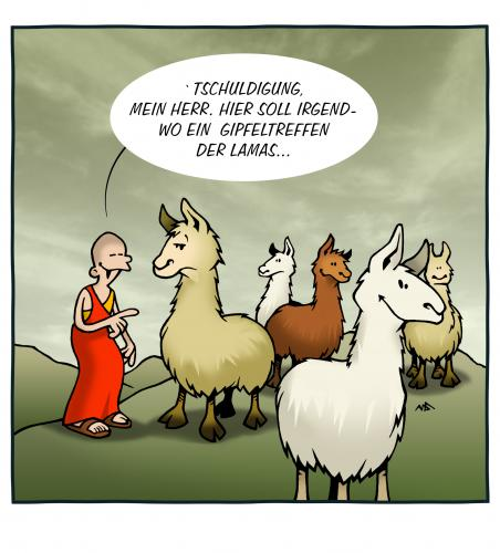 Cartoon: Lama Gag (medium) by volkertoons tagged cartoon,volkertoons,humor,lama,lamas,tiere,animals,natur,nature,religion,anden