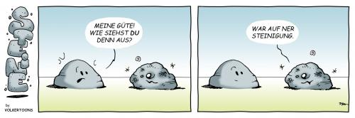 Cartoon: Steinigung (medium) by volkertoons tagged volkertoons,cartoon,comic,strip,humor,stein,steine,steinigung,stone,stones,stein,steine,comic,steinigung,prügel,gewalt