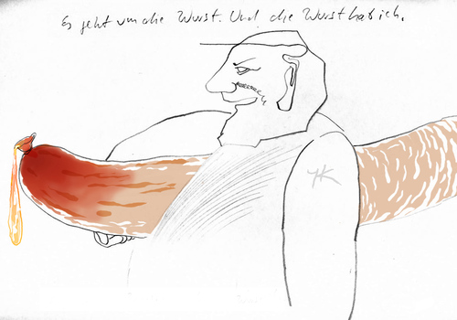 Cartoon: Es geht um die Wurst (medium) by lejeanbaba tagged wurst,macho,mann,erotik,picasso,bohlen