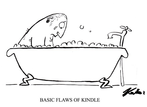 Cartoon: Kindle Problem (medium) by pinkhalf tagged kindle,technology,book,read,literature,bath,man