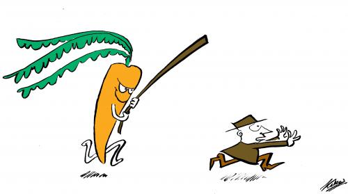 Cartoon: The Carrot and the Stick (medium) by pinkhalf tagged cartoon,man,vegetable,life,the