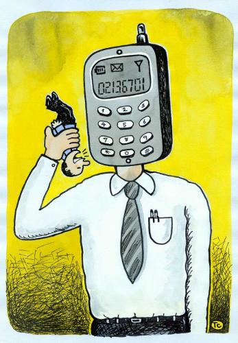 Cartoon: cell phone (medium) by tchuntra tagged cell,phone