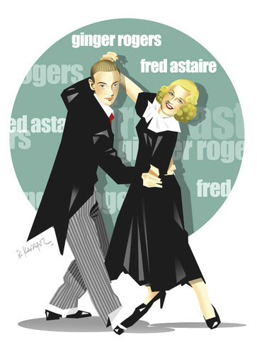 Cartoon: GINGER ROGERS-FRED ASTAIRE (medium) by donquichotte tagged dancing