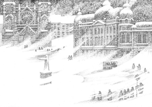 Cartoon: Winterbus (medium) by erikberndt tagged traffic,church,architecture,snowflakes,snow