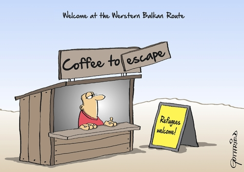 Cartoon: Balkan Route (medium) by Marcus Gottfried tagged war,west,balkan,route,refugees,europe,germany,syria,coffee,to,go,business,welcome,marcus,gottfried,cartoon,caricature,war,west,balkan,route,refugees,europe,germany,syria,coffee,to,go,business,welcome,marcus,gottfried,cartoon,caricature
