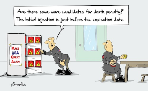 Cartoon: Expiration (medium) by Marcus Gottfried tagged candidates,deathpenalty,death,penalty,lethal,injection,expiration,usa,trump,great,friends,marcus,gottfried,cartoon,karikatur,candidates,deathpenalty,death,penalty,lethal,injection,expiration,usa,trump,great,friends,marcus,gottfried,cartoon,karikatur