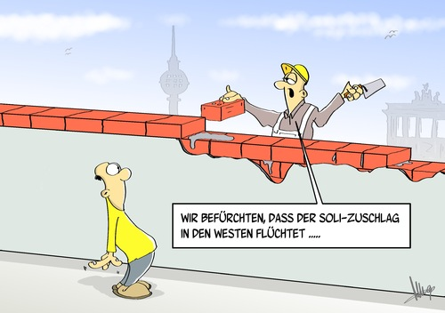 Cartoon: Flucht (medium) by Marcus Gottfried tagged brd,ddr,flucht,bau,mauerbau,mauer,ost,west,solidaritätszuschlag,soli,unterstützung,berlin,teilung,trennung,geld,aufbau,reparatur