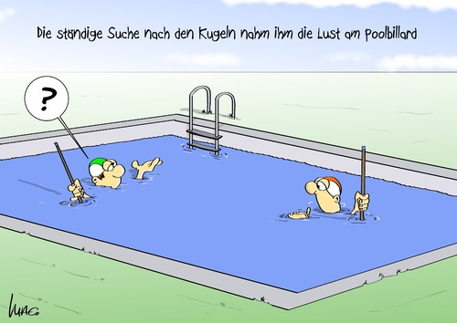 Cartoon: Poolbillard (medium) by Marcus Gottfried tagged sport,billard,pool,wasser,poolbillard,kugel,suche,lust