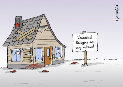Cartoon: Vacancies (medium) by Marcus Gottfried tagged vacancies,room,refugee,refugees,rent,house,ruin,money,income,joy,marcus,gottfried,caricature,cartoon,vacancies,room,refugee,refugees,rent,house,ruin,money,income,joy,marcus,gottfried,caricature,cartoon