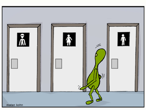 Cartoon: Aliens have needs (medium) by matan_kohn tagged alien,space,science,sciencefiction,toilets,doors,funny,caretoon,caricature,meme,illustration,drawing,painting