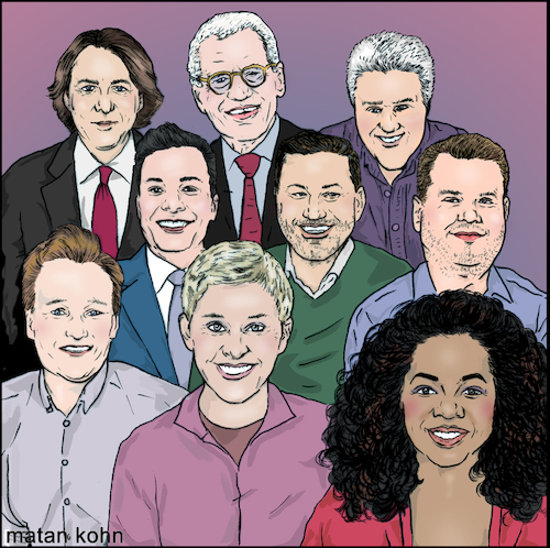 Cartoon: Lets talk (medium) by matan_kohn tagged ellen,degeneres,jay,leno,conan,obrien,david,letterman,jimmy,kimmel,fallon,jonathan,ross,james,corden,oprah,winfrey,television,talkshow,illustration,artwork,stars