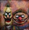 Cartoon: Bert and Ernie (small) by matan_kohn tagged bertandernie,muppets,sesamestreet,digitalart,drawing,painting,people,portrait,bert,blood,funny,gothic,ghotic,wierd,scarry,zombies,zombie,horror,creepy,television