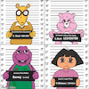 Cartoon: Mugshot (small) by matan_kohn tagged mugshot,criminal,funny,allshots,style,illustration,drawing,digitalart,fun,tvshow,cute,barneythepurpledinosaur,dora,carebears,arthurread,kids,ghotic,weard,art,funart,lol,lamo,laugh,joke,humor,funnypictures,lip