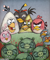 Cartoon: The birds are not so angry (small) by matan_kohn tagged angrybirds,birds,game,games,gamers,gamer,cellular,phone,computer,computergame,animals,troll,funny,funnymemes,illustration,drawing,painting,art,sketch,blood,scary,horror,caricature