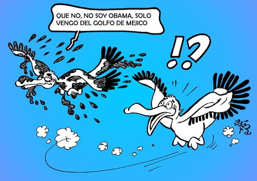 Cartoon: PETROLEO EN EL GOLFO DE MEXICO (medium) by SOLER tagged petroleo,mexico,obama