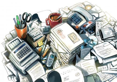 Schreibtischchaos by atzenhofer media culture cartoon for Schreibtisch chaos
