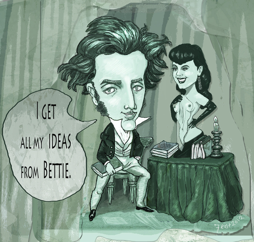 Cartoon: Kierkegaard and Bettie Page (medium) by frostyhut tagged boobs,existentialism,books,page,bettie,philosophy,kierkegaard