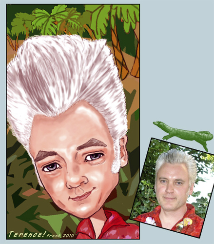 Cartoon: Terence (medium) by frostyhut tagged tropical,hair,quiff,rockabilly,tiki,caricature,male